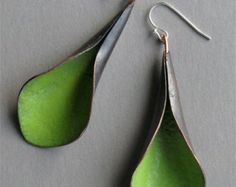 Handmade green  lily earrings copper enamel
