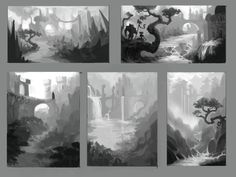 ArtStation - Environment sketches and color script, Virginie Cabana