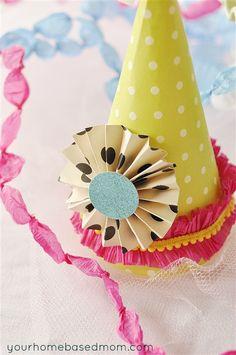 Birthday Party Hat Tutorial from http://www.yourhomebasedmom.com/