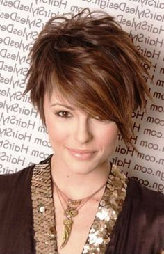cool short hairstyles round face thin hair - Google Search...
