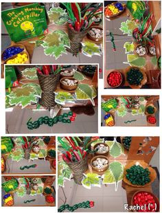 "Threading caterpillars... from Rachel ("",) (hungry caterpillar art)"