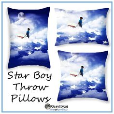 Star Boy Throw Pillows by #Gravityx9 at #FineArtAmerica ~  A little boy, pulling  his starfilled red-wagon across the sky.  Selecting the perfect place for each star from above the clouds. This design is available on bags, home decor, cards, posters and more.  #homedecor #throwpillows  #kidsroom #kidsroomdecor #babysroom #babyboy ~