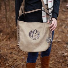 This is a I Flew The Nest original. Pictured is our oatmeal studded bag rocking cloister thread in master circle font. :)