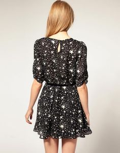 Half-sleeve Chiffon Star Printed Dress with Belt
