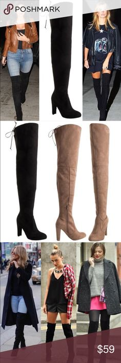 "30"" Thigh High HOST PICK DON'T BUY IF YOU DON'T WANT VERY TALL SHAFTS! Faux suede upper and wrapped heel. Adjustable drawstring/cord. 4"" heel. Zipper runs from footbed to mid leg. Calf, 15"". Top of shaft, 19"". Total height from heel tip to top of shaft, 30 1/2"". CENTER IMAGE 1, IMAGE 2, IMAGE 4 SHOW ACTUAL BOOT STYLE FOR SALE. Image 3, image 1 left & right are for styling ideas only. As with all merchandise, seller not responsible for fit nor comfort. ♠️THIS LISTING IS FOR BLACK♠️…"