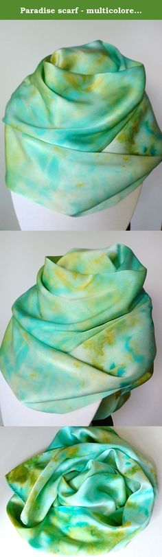 Paradise scarf - multicolored, blue, green, yellow, gold, silk scarf, Silk Hand Painted Scarf, Handmade Scarf, Silk Scarves for Women, Sashes for Women, Belts for Women. This scarf is hand painted in soft shades of green, yellow, gold and blue. The tranquil colors of an island in paradise! If features a one-of-a-kind abstract pattern throughout. Tie it around your neck or around your waist or hips. Transform any outfit into an eye-catching look with this scarf! Fabric: 100% silk with hand...