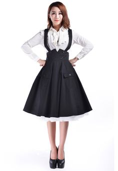 89a389ee492 women vintage black red high waist swing circle Suspender Skirt cotton plus  size button up retro skirts polka jupe