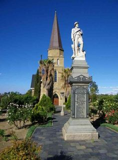 Heilbron Dutch Reformed Church with Burgher monument Heavenly Places, Church Building, My Land, Cathedrals, Continents, Temples, South Africa, Dutch, Buildings