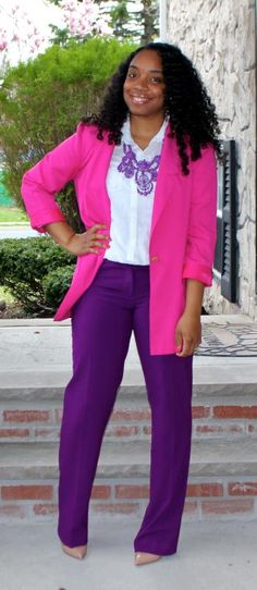 Style & Poise: Corporate Chic: Pink and Purple Diva Fashion, Work Fashion, Curvy Fashion, New Fashion, Plus Size Fashion, Vinyl Pants, Looks Style, My Style, Corporate Chic