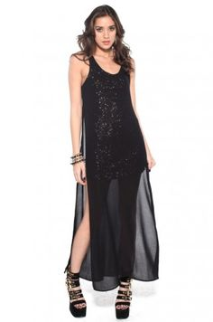 Sequin & Chiffon Overlay Dress in Copper from ShopAKIRA.com #holidaysequins #partydress #holiday #sequins #copper #black #maxidress
