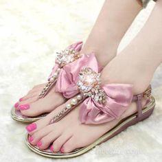 6955639ff2 awesome Shoespie Rhinestone Bowtie Thong Flat Sandals Σαγιονάρες