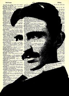 "Nikola Tesla -  Paper Ephemera - 8x11""  Print on Vintage repurposed paper - Dictionary Art Print"