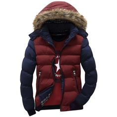 46.46$  Buy now - http://ali0km.worldwells.pw/go.php?t=32760893297 - Hooded Design Men Parka Size M-3XL Casual & Fit Men's Winter Coat Stand Collar Thick Man Down Jacket Contrast Color Large size 46.46$