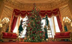 Royal Collection Trust members of staff put the finishing touches to a Christmas tree in the Crimson Drawing Room at Windsor Castle Castle Drawing, Drawing Room, Nordmann Fir Tree, Duck Egg Living Room, Easter Breaks, Royal Collection Trust, Royal Christmas, Her Majesty The Queen, Home Again