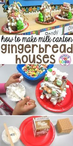 How to make milk carton gingerbread houses in the classroom. Perfect for a gingerbread theme in a preschool, pre-k, and kindergarten classroom. (Christmas Activities For The Classroom) How To Make Gingerbread, Christmas Gingerbread, Gingerbread Houses, Grinch Christmas, Gingerbread Cookies, Gingerbread Man Activities, Holiday Activities, Christmas Activities For Preschoolers, Christmas Themes