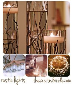 Rustic twig in water w/ candle