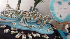 décor pour boite à dragées bateau  thème mer