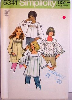 Misses smock tops 5341 size 1972 pattern no. 1 and 2 smock-tops gathered to yoke with high round neckline and front slit have long s My Childhood Memories, Sweet Memories, Nostalgia, 1970 Style, 70's Style, Sew Your Own Clothes, Mode Vintage, Vintage 70s, Simplicity Patterns