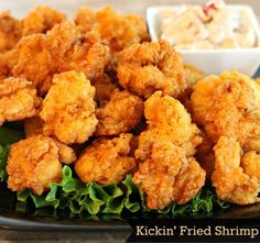 Breaded and fried until golden these kickin' fried shrimp are crispy and crunchy.