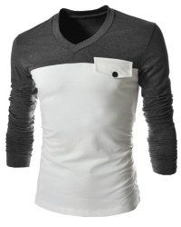Modish V-Neck Two Color Splicing Fake Pocket Slimming Long Sleeve Polyester T-Shirt For Men. Pattern Type Patchwork Size Our Size Bust Length Shoulder Width Sle Cheap T Shirts, Cool T Shirts, Men's Shirts, Cheap Mens Fashion, Wholesale T Shirts, Cool Outfits, Fashion Outfits, Men's Fashion, Fashion Site