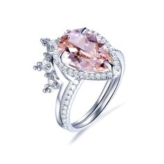 Morganite Engagement, Engagement Ring Settings, Engagement Rings, Make Your Own Ring, Charles And Colvard Moissanite, Wedding Bands, Wedding Ring, Pave Ring, Eternity Bands