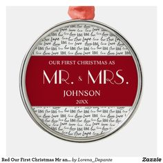 Red Our First Christmas Mr and Mrs Custom Newlywed Metal Ornament Holiday Cards, Holiday Gifts, Modern Christmas Ornaments, First Christmas Married, Modern Typography, Family Memories, Tree Designs, Artwork Design, Newlyweds