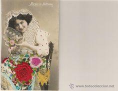 POSTAL AÑOS 20 BORDADA Y COLOREADA EN PRECIOSOS COLORES VIVOS - MARGARITA BELTRAMO - Foto 1