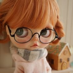 *** Custom Blythe *** glasses ***  Buy her here:   #‎blythe #‎blythedolls #‎kawaii #‎cute #‎rinkya #‎japan #‎collectibles #‎neoblythe #‎customblythe