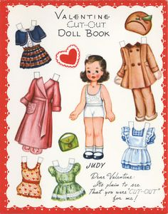 vintage valentine cut-out paper dolls