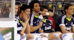 Marcelo Vieira fails to get the cap off of a bottle and hands it to Cristiano Ronaldo haha so cute