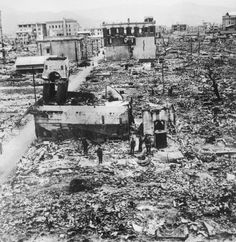 The ruins of Hiroshima, the target of the first atomic bomb to be dropped on a city.