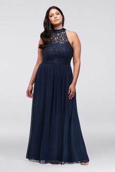 70305242ef8cc High-Neck Chiffon Plus Size Gown with Ladder Back