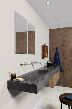 Badkamertrend Urban Jungle met badkamermeubel Lavanto Celio, kraan Flow en robuuste wastafel van keramiek - via Dekker Zevenhuizen #badkamer
