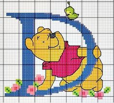 Winnie the Pooh Alphabet Cross Stitch Pattern D Beaded Cross Stitch, Cross Stitch Charts, Cross Stitch Embroidery, Disney Stitch, Disney Cross Stitch Patterns, Cross Stitch Designs, Cross Stitch Christmas Ornaments, Winnie The Pooh Friends, Embroidery Letters