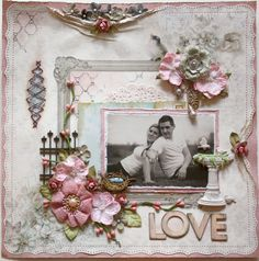 I love the scrunched paper at the top, just bulging with tiny flowers!  Another favorite #scrapbook #page brought to you via Scrap 'n Paradise Retreat in Oklahoma http://scrapnparadise.webs.com