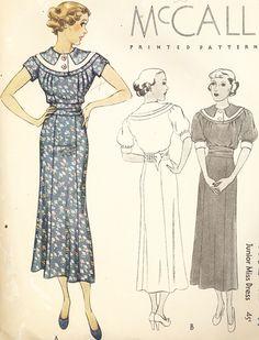McCall 8332   1935 Junior Miss Dress