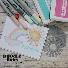"MFT STAMPS: Stitched Rainbow Die-namics Die Die-namics dies work with most tabletop die cutting machines such as the Big Shot & Cuttlebug. The Stitched Rainbow Die-namics measures 4"" x 2"" with individ"