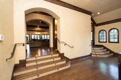 Upscale finished in hardwood floors.  #Homes #Hardwood #Mansion #Stairs