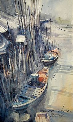 At the Fishing Village  Watercolor   26 x 43 cm  by Direk Kingnok