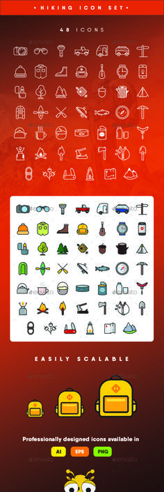 48 Colorful & Linear Hiking Themed Icons Package includes: - EPS 10 (100 resizable);- EPS (100 resizable);- Ai cs3 (100 resizable);- Ai cc (100 resizable);- PNGs;- JPGs