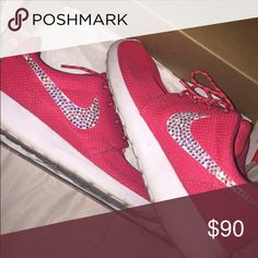 CUSTOM CRYSTAL ROSHE RUN Worn twice. Comes with box. Nike Shoes Sneakers