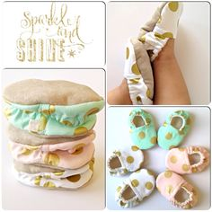 Mint Green Pink White Metallic Gold Dots Fabric by SahndaMarieKids, $25.00