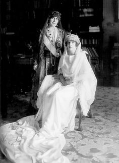 Crown Princess Helen on her wedding day, with her mother-in-law, Queen Marie of Romania, who bought the meander tiara from her sister, Grand Duchess Victoria Melita Romanian Royal Family, Greek Royal Family, Regina Victoria, Queen Victoria, Michael I Of Romania, Maud Of Wales, Elisabeth I, Greek Royalty, Adele