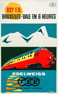 The TEE Edelweiss below a Swiss mountain massif (1962, Paul Funken (1932-)