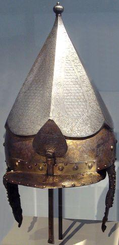 Ottoman Chichak helmet made in the Saint Irene arsenal, Constantinople, circa 1520.
