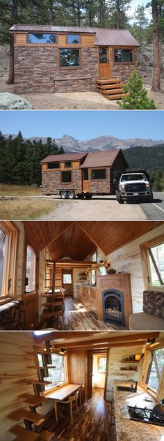 A 204 sq.ft. tiny house on wheels with lightweight stone veneer, fireplace, u-shaped custom couch, & loft bedroom. Wood interior completes the rustic theme.