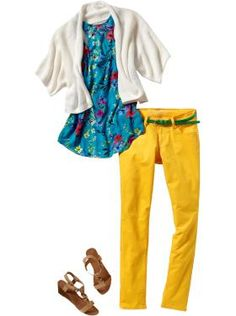 Here's an entire outfit from Old Navy. The top is long and flowy as well as printed, making for superior concealment of your sidearm. The sweater is loose so your gun shouldn't print. Not to mention the adorable sunny pants. Ditch the skinny green belt and use a nice thick one for conceald carry. Conceal behind the hip in an IWB.     As for the sandals, I would personally leave those behind and pair the outfit with some bright colored pantent high heeled pumps.