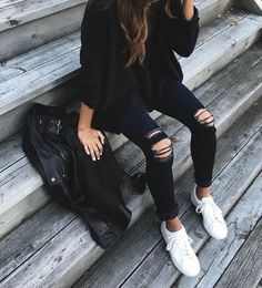 black sweater, black skinny jeans & white shoes