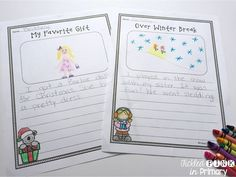 FREE winter writing prompts to use after winter break