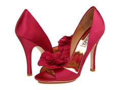Red Rose Heels for a Snow White bride -- Badgley Mischka Randall Antique Rose Satin - 6pm.com